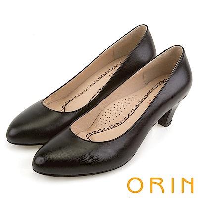 ORIN 簡約時尚OL 圓尖素面柔軟羊皮粗跟鞋-黑色