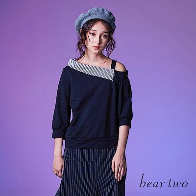 beartwo 斜肩翻領七分袖上衣 (灰色)