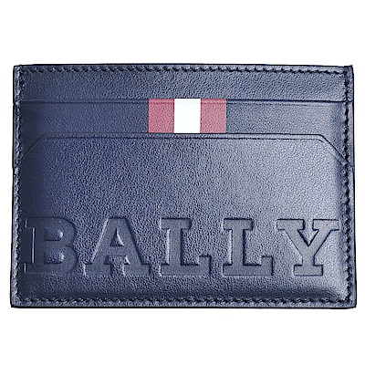 BALLY BHAR BOLD 義大利製品牌LOGO壓印牛皮卡片機能夾(深藍)