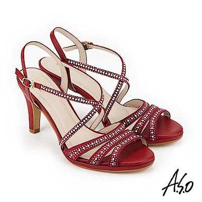 A.S.O 炫麗魅惑 緞布水鑽奈米高跟鞋 正紅