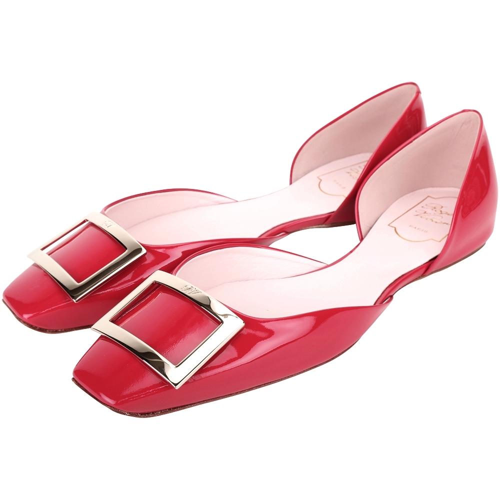 Roger Vivier Trompette Dorsay 方釦漆皮芭蕾舞平底鞋(39號/紅色)