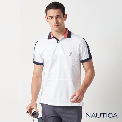 Nautica合身撞色拼接短袖POLO衫-白