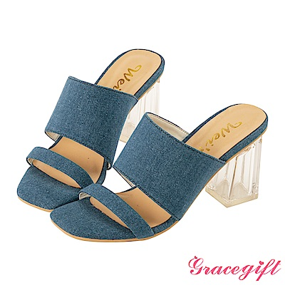 Grace gift X Wei-聯名素面寬帶透明高跟涼鞋 牛仔