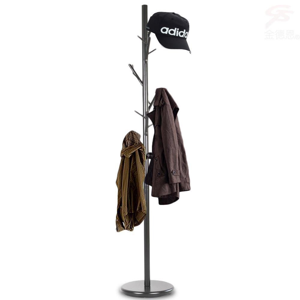 金德恩 台灣製造 簡約時尚獨立式6枝枒短樹枝造型衣帽架+1包拉鍊式衣物防汙防塵收納袋