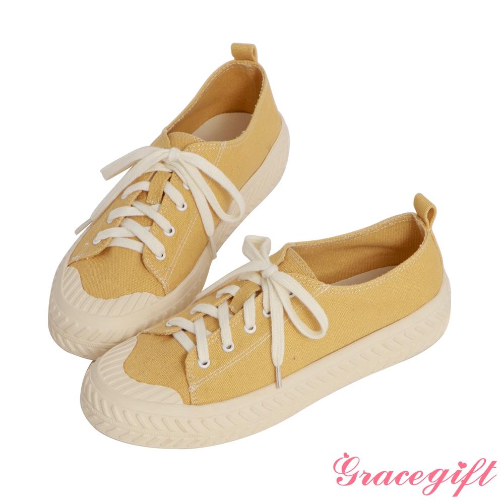 Grace gift-素面帆布休閒餅乾鞋 黃