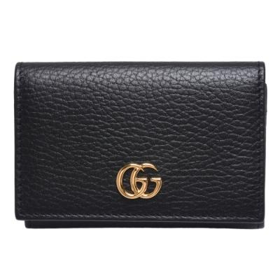 GUCCI GG Marmont系列荔枝紋牛皮金屬雙G LOGO萬用信用卡/短夾(黑)