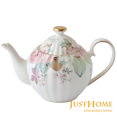 Just Home花漾薔薇新骨瓷英式花茶壺1200ml