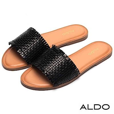 ALDO 原色真皮交叉編織寬版鞋面低跟涼鞋~尊爵黑色