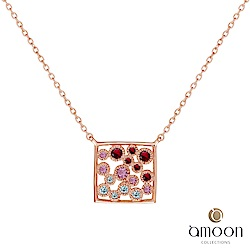 amoon 璀璨星空系列 幻影 K金寶石項鍊-紅寶石款