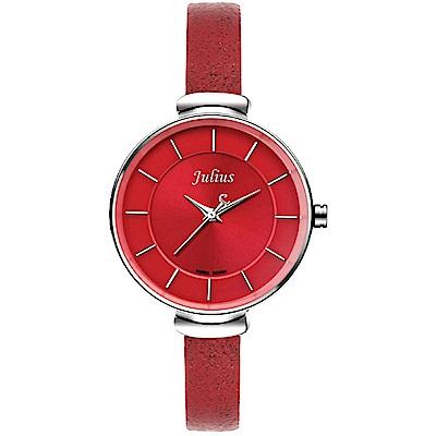 JULIUS聚利時 和煦日光太陽紋簡約皮帶腕錶-紅色/30mm