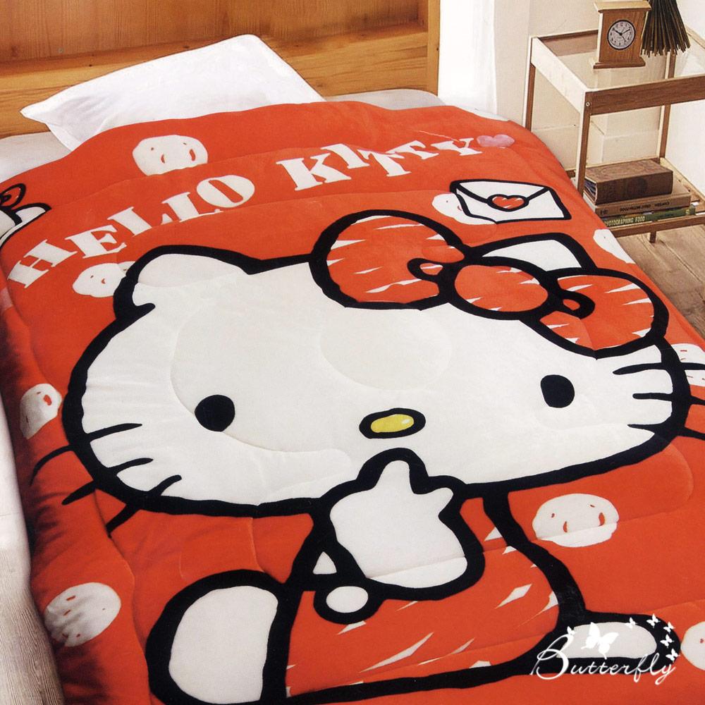 BUTTERFLY-台製-HelloKitty凱蒂貓法蘭絨暖暖被-我的日常-紅