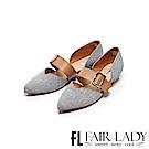 Fair Lady優雅小姐Miss Elegant寬帶側挖空尖頭低跟鞋 藍布紋