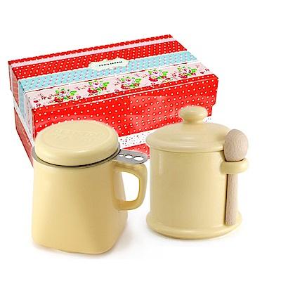 ZERO JAPAN 陶瓷儲物罐+泡茶馬克杯超值禮盒組(香蕉黃)