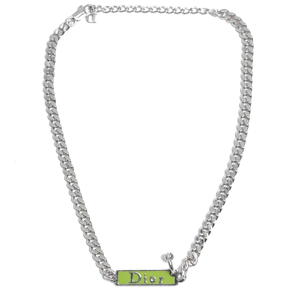 DIOR 字母LOGO綠色銘排造型項鍊(銀)