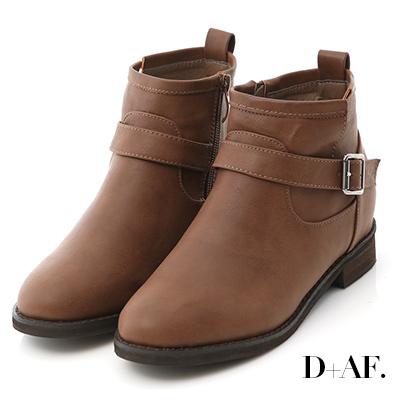 D+AF 熱銷指定.簡約單釦環內增高短靴*咖