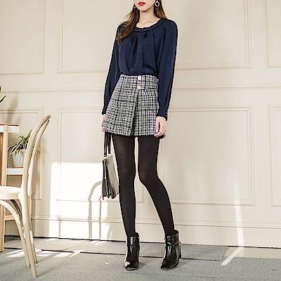 花紋毛料布格紋釦造型褲裙-OB大尺碼