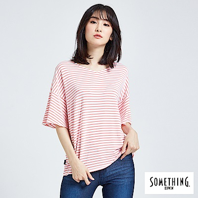 SOMETHING 荷葉袖造型V領條紋T恤-女-珊瑚紅