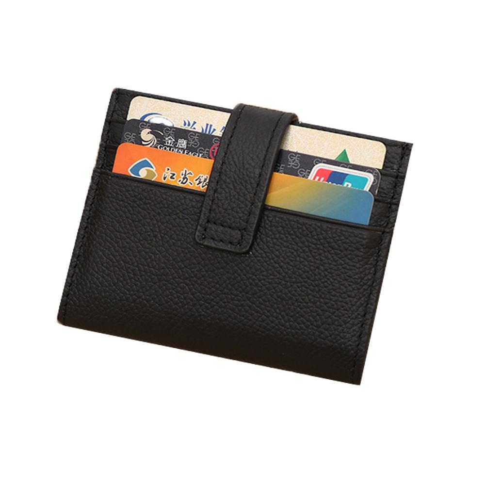 JINBAOLAI  GT6215BK頭層牛皮搭扣信用卡零錢包皮夾黑色