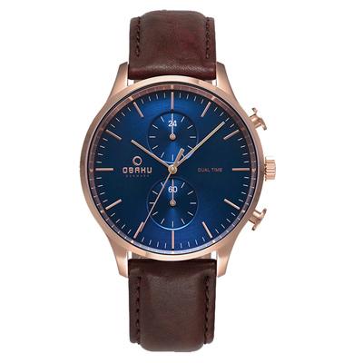 OBAKU 海洋現代闡釋多功能腕錶-咖啡X藍(V196GUVLRN)/42mm