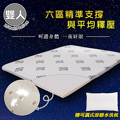 【格藍傢飾】100%頂級天然乳膠防蹣抗菌5cm床墊&水洗枕(雙人)
