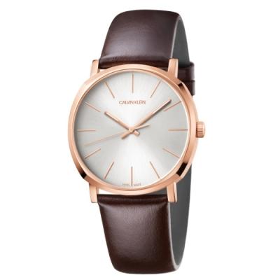 Calvin Klein CK紳士簡約三針皮帶腕錶(K8Q316G6)40mm
