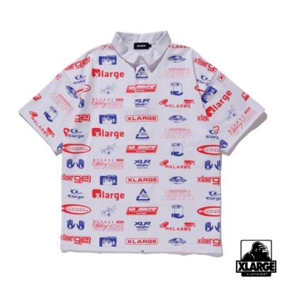 XLARGE S/S ALLOVER PRINT RUGBY SHIRT 滿版LOGO短袖POLO衫-白