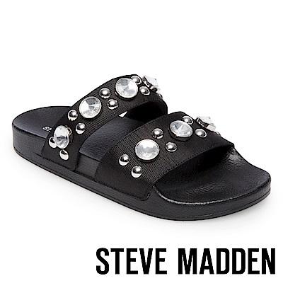 STEVE MADDEN-SHININ 寶石鉚釘鑲嵌二字帶厚底拖-黑色