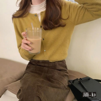JILLI-KO 圓領氣質短款開扣針織衫- 黃/紫/卡