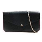 Louis Vuitton M64579 水波紋牛皮鏈帶釦式手拿長夾斜背包(黑)