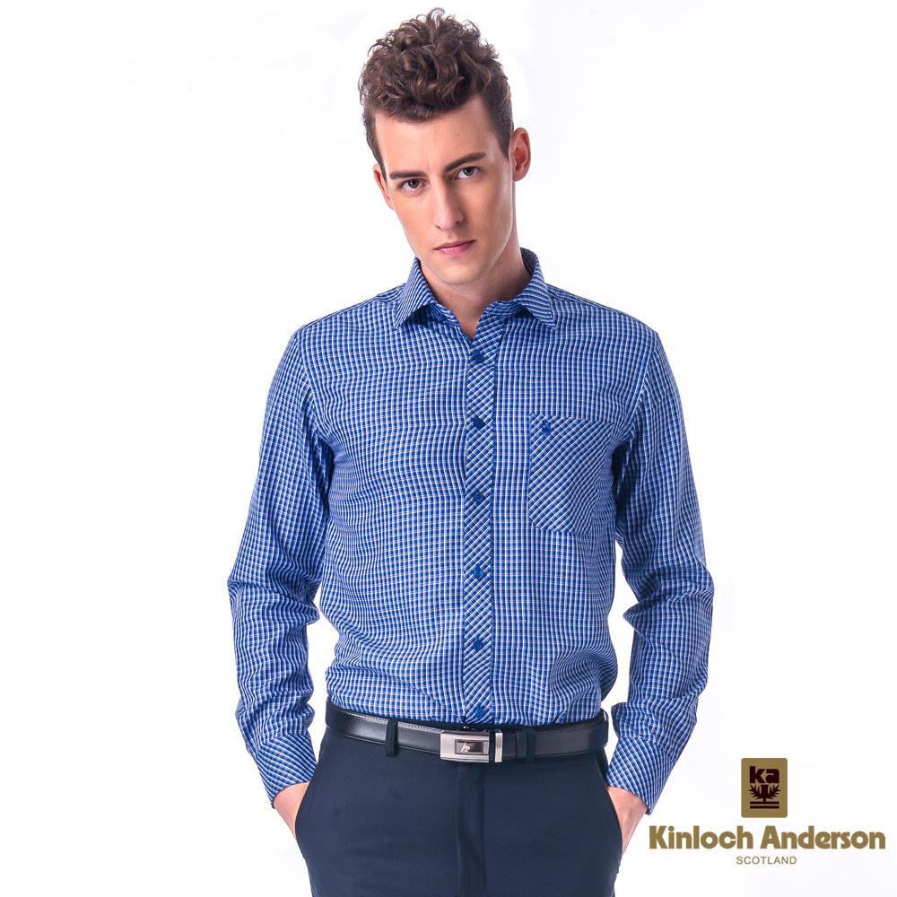 金‧安德森 藍格白線門襟斜格窄版長袖襯衫