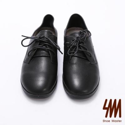 SM-圓頭牛皮素面綁鞋帶牛津鞋
