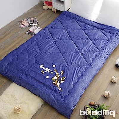 BEDDING-雙面同色水晶絨+毛巾繡花暖暖被-藍寶石-瓊葉版