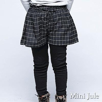 Mini Jule長褲假兩件式格子短褲綁帶設計內搭長褲黑