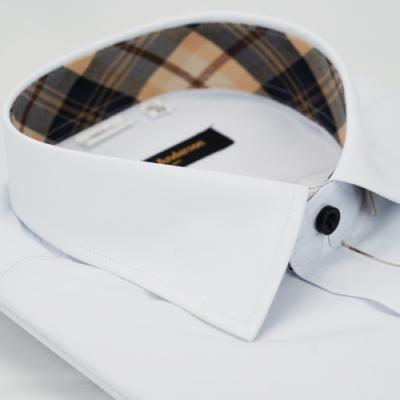【金‧安德森】經典格紋繞領門襟鑲格白色窄版長袖襯衫fast