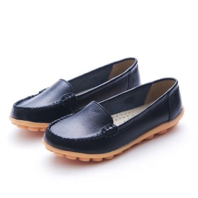A one 牛皮素面莫卡辛休閒鞋-黑色