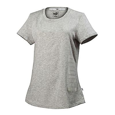 PUMA-女性基本系列Summer印花短袖T恤-淺麻花灰-亞規