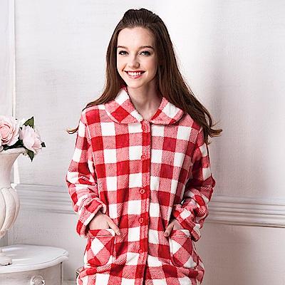 羅絲美睡衣 - 經典紅白格紋暖冬褲裝睡衣 (女生賣場)