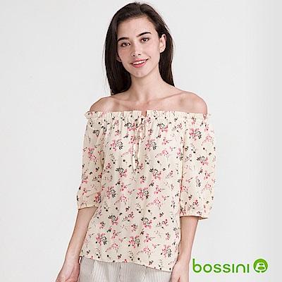 bossini女裝-五分袖印花罩衫自然白