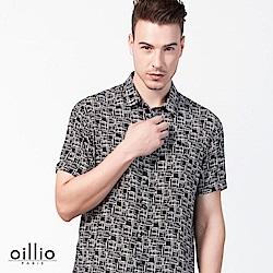 oillio歐洲貴族 短袖創意設計格紋襯衫 超柔布料上衣 黑色