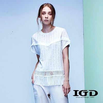 IGD英格麗 都會悠閒風天絲棉條紋流蘇下襬造型上衣-白色