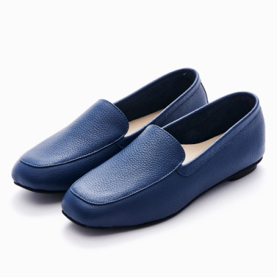 G.Ms. MIT系列-牛皮樂福休閒懶人平底鞋-藍色
