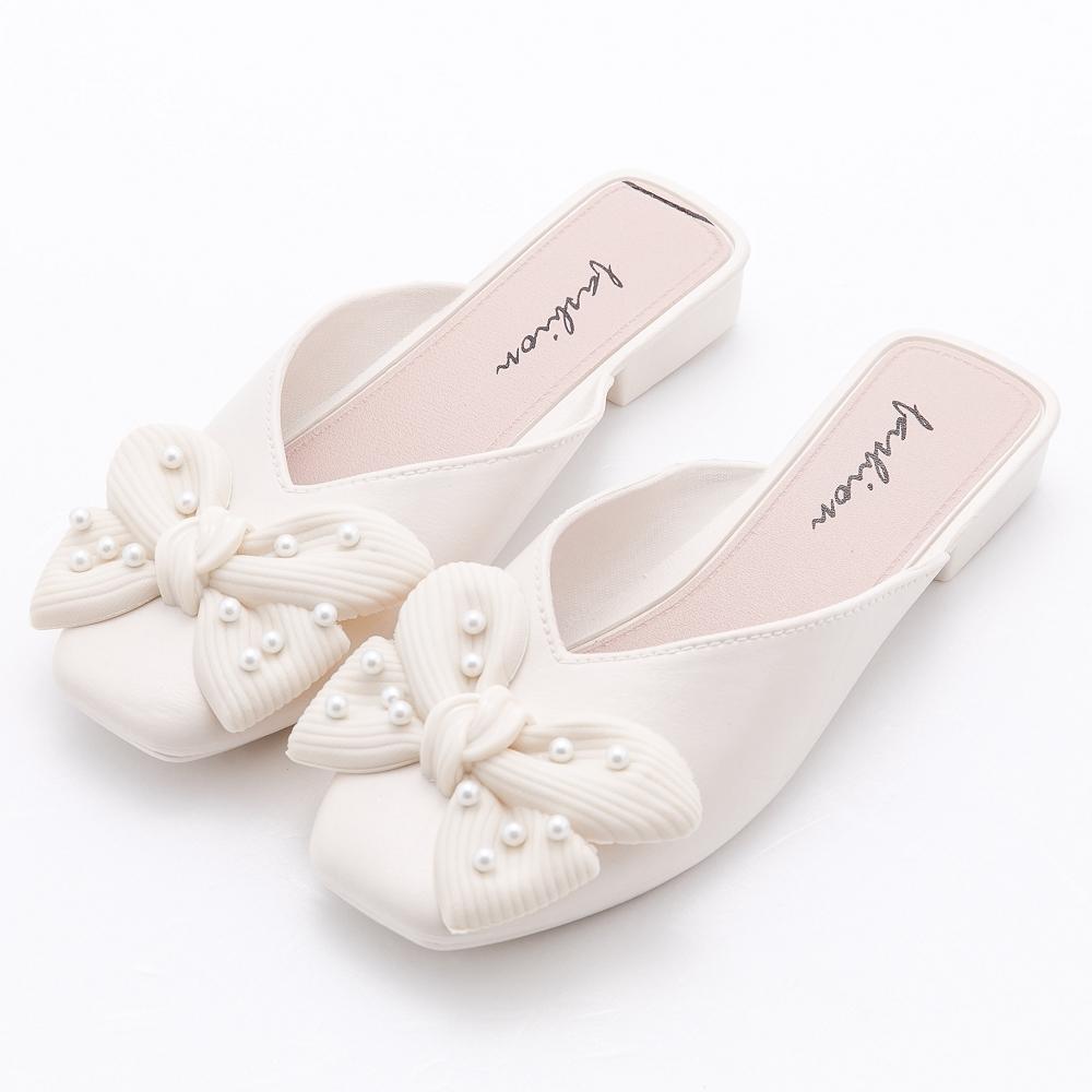 River&Moon防水鞋 珍珠朵結V口方頭低跟穆勒 米白