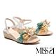 涼鞋 MISS 21 海島度假風貝殼珍珠草編楔型涼鞋-綠 product thumbnail 1