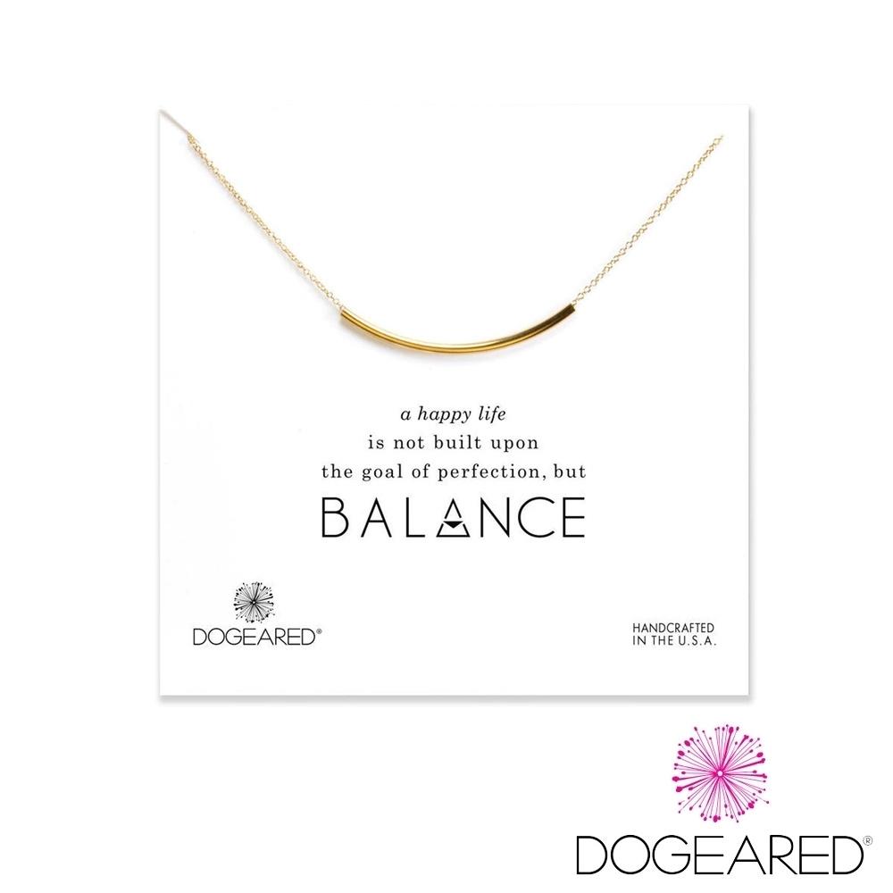 美國DOGEARED 平衡骨鍍金祈願項鍊 Balance Tube Bar Necklace