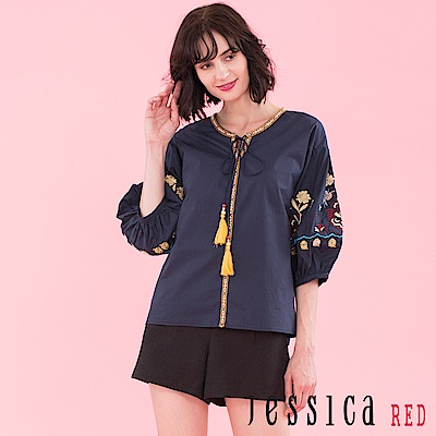 JESSICA RED - 刺繡流蘇設計上衣(深藍)