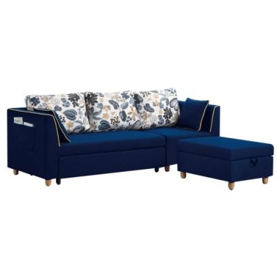 文創集 貝克藍棉麻布機能L型沙發/沙發床(拉合式機能設計)-225x144x75cm免組