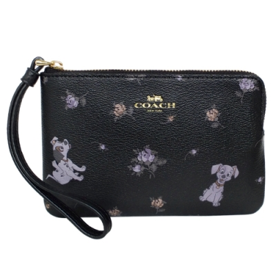 COACH x Disney黑紫小花101忠狗拉鍊萬用手拿包