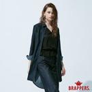 BRAPPERS 女款 英文刺繡長版襯衫-藍