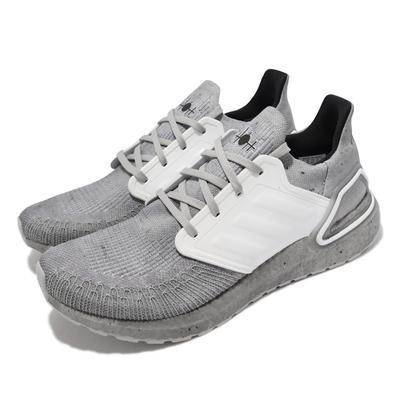 adidas 慢跑鞋 Ultraboost 20 襪套 運動 男鞋 愛迪達 James Bond 避震 包覆 灰 白 FY0647