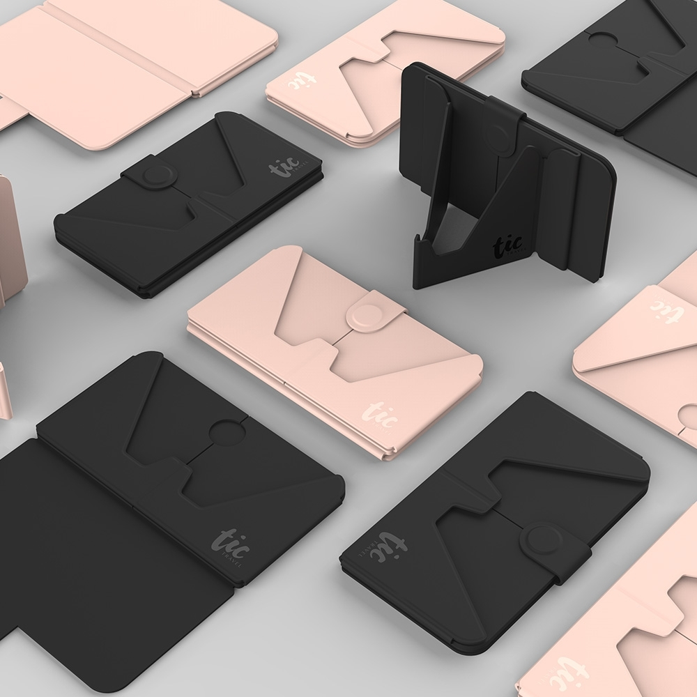 TIC HOLDER 超薄3合1 手機支架卡片口罩收納夾(2入組) tic holder tic design tic bottle 口罩 旅行用品 商務旅行 出差 收納 手機支架 證件套